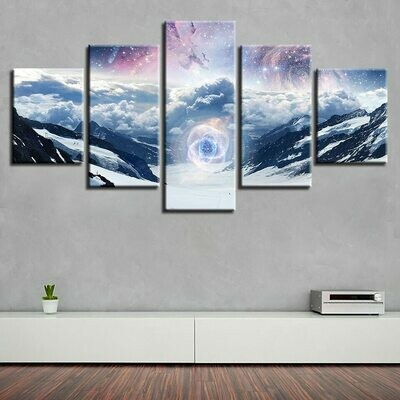 Fantasy Cloud Mountain - 5 Panel Canvas Print Wall Art Set