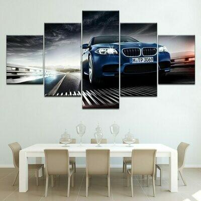BMW Car Poster - 5 Panel Canvas Print Wall Art Set
