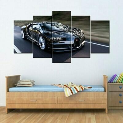 Bugatti Chiron Super Car - 5 Panel Canvas Print Wall Art Set