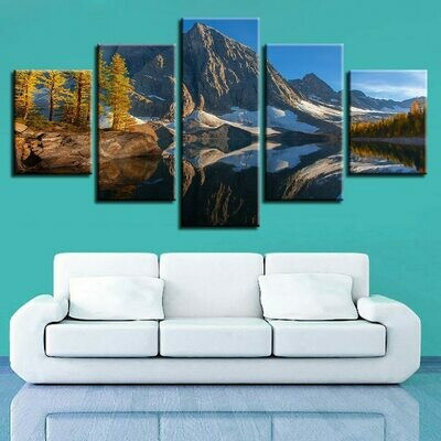 Cliff Trees - 5 Panel Canvas Print Wall Art Set