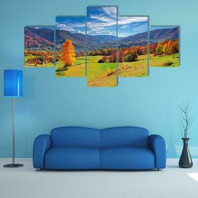 Colorful Autumn Panorama Of Mountain - 5 Panel Canvas Print Wall Art Set