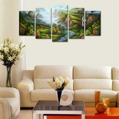Cyan Mountain - 5 Panel Canvas Print Wall Art Set