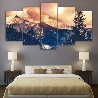 Dawn In Mountain - 5 Panel Canvas Print Wall Art Set