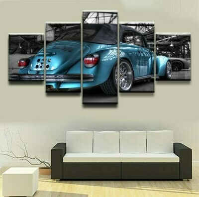 Beetle Blue Car - 5 Panel Canvas Print Wall Art Set