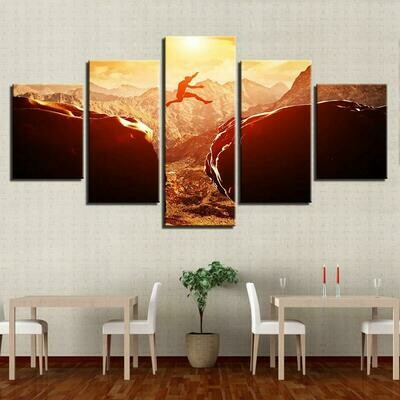 Extreme Mountain Sports - 5 Panel Canvas Print Wall Art Set