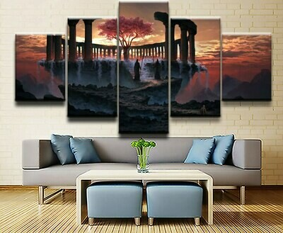 Fantasy Mountain And Cherry Blossom - 5 Panel Canvas Print Wall Art Set