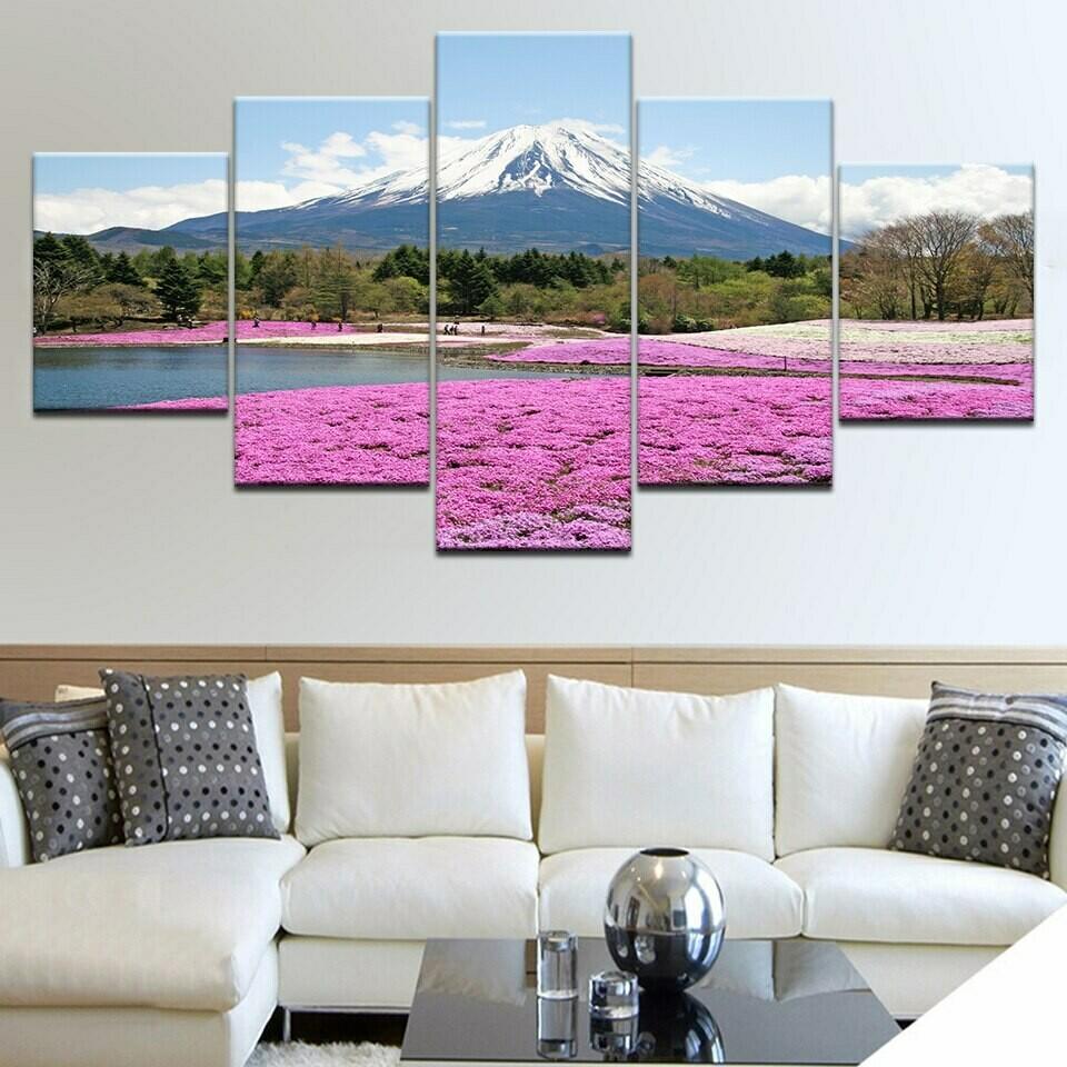 Fuji Snow Mountain Pink Flowers - 5 Panel Canvas Print Wall Art Set