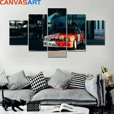 BMW E30 Car Poster - 5 Panel Canvas Print Wall Art Set