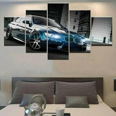 BMW M3 Black - 5 Panel Canvas Print Wall Art Set