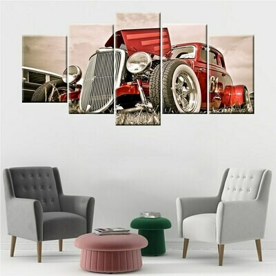 Classic Car Picture - 5 Panel Canvas Print Wall Art Set
