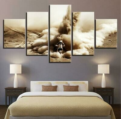 Cross-country Motorcycle - 5 Panel Canvas Print Wall Art Set