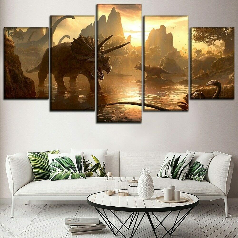 Dinosaurs In Mountain - 5 Panel Canvas Print Wall Art Set