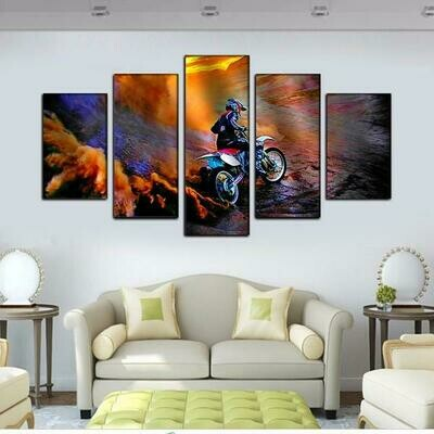 Dirtbike Mountain - 5 Panel Canvas Print Wall Art Set