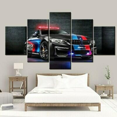 Black Cool Sport Car - 5 Panel Canvas Print Wall Art Set