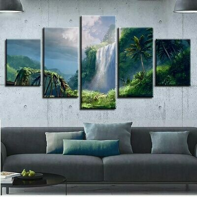 Fantasy Mountain Island Waterfall - 5 Panel Canvas Print Wall Art Set