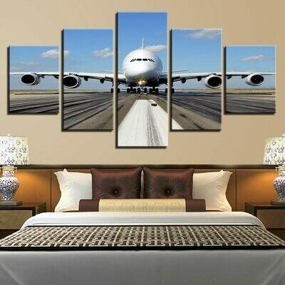 Blue Sky White Cloud Aircraft Scenery - 5 Panel Canvas Print Wall Art Set