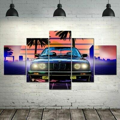 Car Classic Retro Poster - 5 Panel Canvas Print Wall Art Set