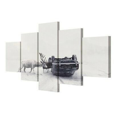 Deer Car Winter Poster - 5 Panel Canvas Print Wall Art Set