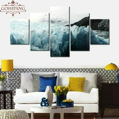 Glaciers And Mountain Scenery - 5 Panel Canvas Print Wall Art Set