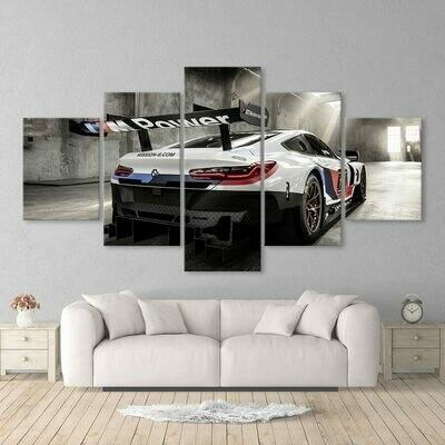 BMW M3 Blue Sport Car - 5 Panel Canvas Print Wall Art Set
