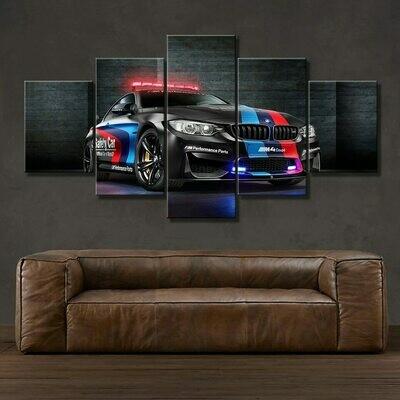 BMW M4 Black Sport Car - 5 Panel Canvas Print Wall Art Set