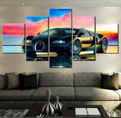 Bugatti Sports Car - 5 Panel Canvas Print Wall Art Set
