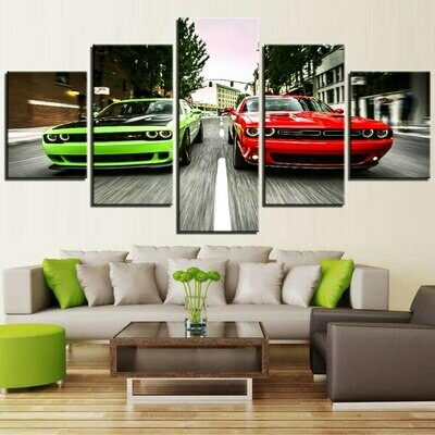 Challenger Green Red Sports Cars - 5 Panel Canvas Print Wall Art Set