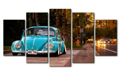 Colored Cars Painting - 5 Panel Canvas Print Wall Art Set