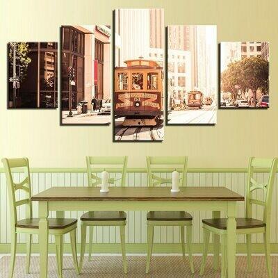 European Cities Tram City - 5 Panel Canvas Print Wall Art Set