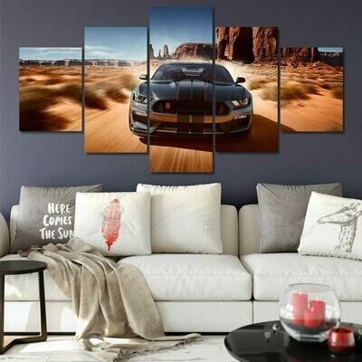 Ford Mustang GT - 5 Panel Canvas Print Wall Art Set
