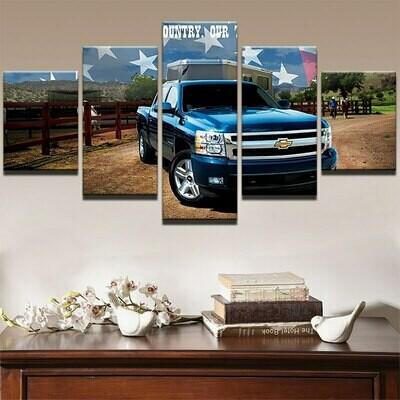 Chevrolet Blue Pickup Truck Car - 5 Panel Canvas Print Wall Art Set