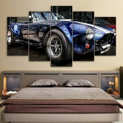 Classic Car Cabrio Poster - 5 Panel Canvas Print Wall Art Set
