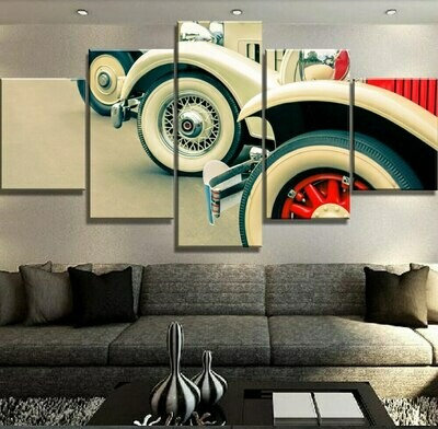 Classic Car Lineup - 5 Panel Canvas Print Wall Art Set