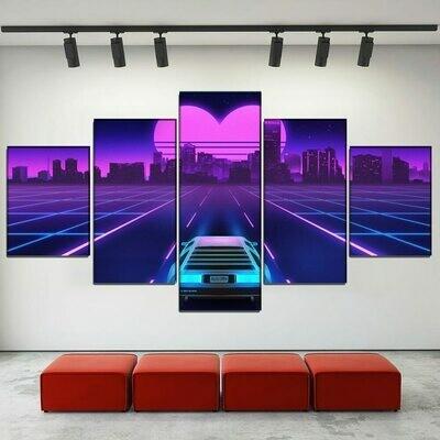 Heart-Shaped Neon City - 5 Panel Canvas Print Wall Art Set