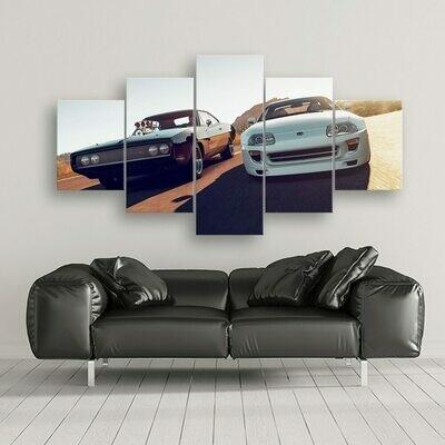 Fast Furious Sports Car - 5 Panel Canvas Print Wall Art Set