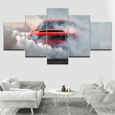 Dodge Challenger Demon Car - 5 Panel Canvas Print Wall Art Set