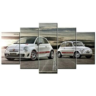 Fiat 595 Abarth Car - 5 Panel Canvas Print Wall Art Set
