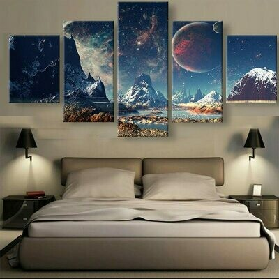 Mountains And Space Planet - 5 Panel Canvas Print Wall Art Set