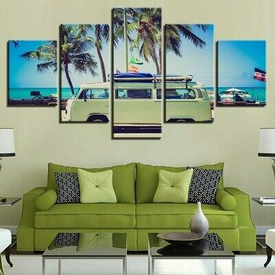 Green Car At Sea Palm - 5 Panel Canvas Print Wall Art Set
