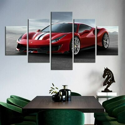 Supercar Red Car Sport Poster - 5 Panel Canvas Print Wall Art Set