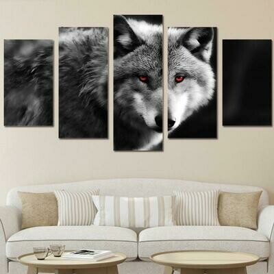 Animal Photo Red Eyes Wolf- 5 Panel Canvas Print Wall Art Set