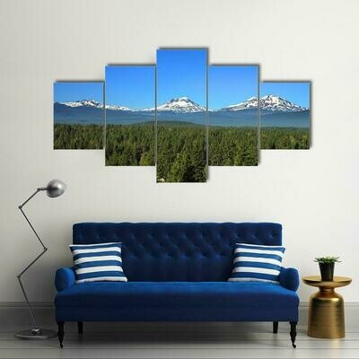 Three Sisters Mountains In Oregon - 5 Panel Canvas Print Wall Art Set