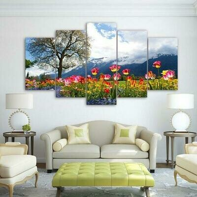 Tulips In Mountain - 5 Panel Canvas Print Wall Art Set