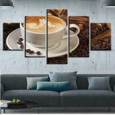 Coffe Bean - 5 Panel Canvas Print Wall Art Set
