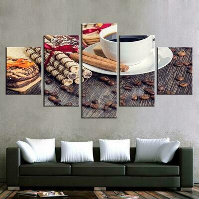 Coffee Bean Cup Kitchen Food Coffee - 5 Panel Canvas Print Wall Art Set