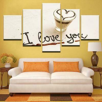 Coffee Collection - 5 Panel Canvas Print Wall Art Set