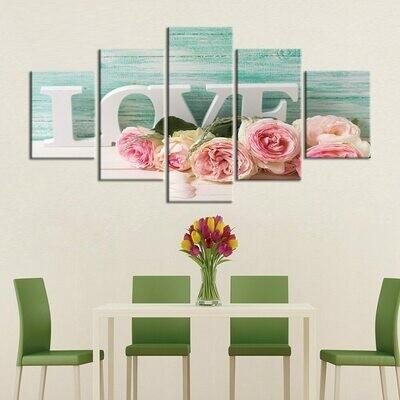 Love Roses - 5 Panel Canvas Print Wall Art Set