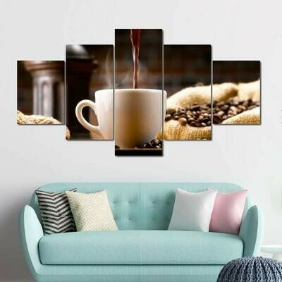 Brewed Coffee - 5 Panel Canvas Print Wall Art Set