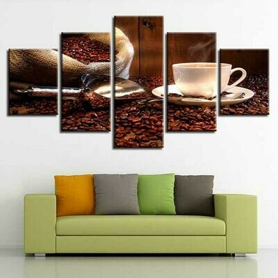 Coffee And Beans - 5 Panel Canvas Print Wall Art Set