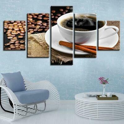 Coffee And Coffee Bean - 5 Panel Canvas Print Wall Art Set